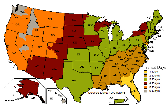 A map showing shipping time within the United States.