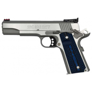 "Colt Gold Cup Elite 38 Super 5"" Barrel W/ Novak Red Fiber Optic Front-Adjustable Bomar Style Rear Sights 9+1 G10 Checkered Blue Grips/Stainless O5073GCL"