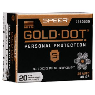 SPEER 23602GD GOLD DOT 25ACP 35 HP 20/10