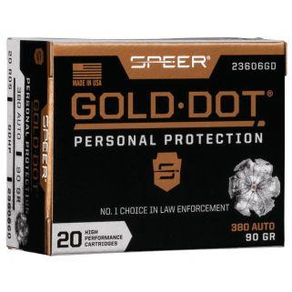 SPEER 23606GD GOLD DOT 380ACP 90 HP 20/10