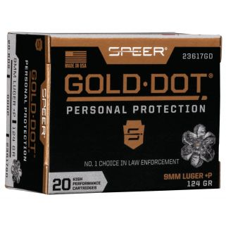 SPEER 23617GD GOLD DOT 9MM+P 124 HP 20/10