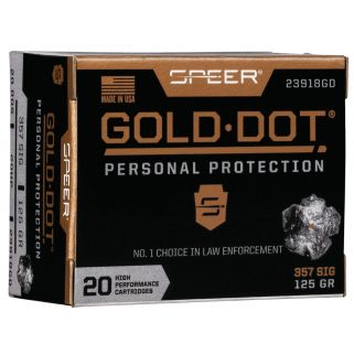 SPEER 23918GD GOLD DOT 357SIG 125 HP 20/10