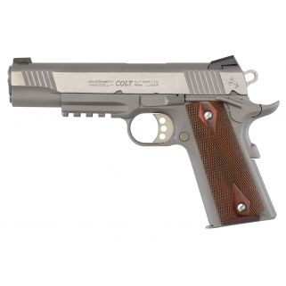 "Colt 1911 Government 9mm Luger 5"" Barrel 9+1 Rosewood Grips/Stainless O1072RG"