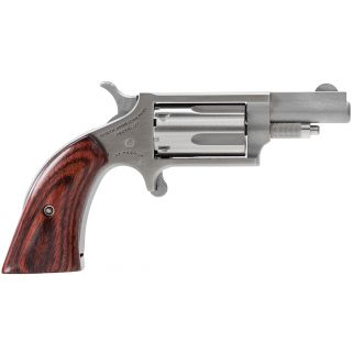 "NAA Mini Revolver 22 Magnum 1.125"" Barrel W/ Fixed Sights 5Rd Wood Boot Grip/Stainless 22MSGBG"
