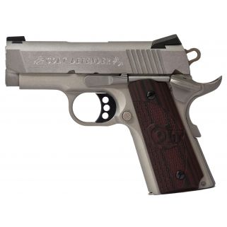 "Colt Defender 45ACP 3"" Barrel W/Novak Sights 7+1 Checkered Black Cherry Grips/Brushed Stainless O7000XE"