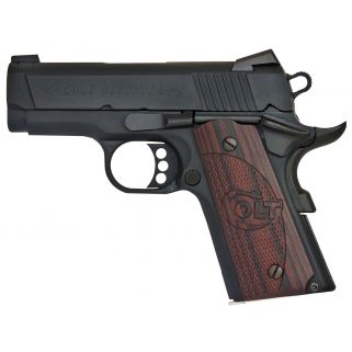 "Colt Defender 45ACP 3"" Barrel W/ Novak Night Sights 7+1 Checkered Black Cherry Grips/Stainless O7800XE"