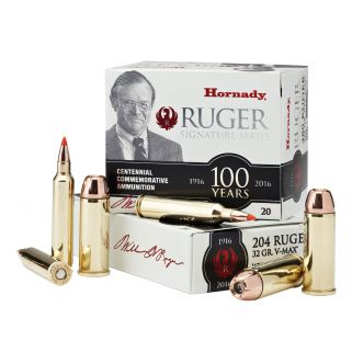 Hornady Ruger Commemorative Ammunition 204 Ruger 32 Grain V-Max 20 Round Box 83214