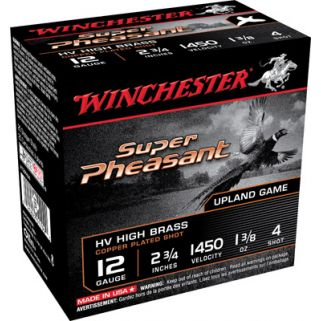 """Winchester Super Pheasant 12 Gauge 4 Shot 2.75"""" 25 Round Box X12PHV4"""