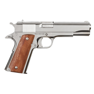 "Rock Island Armory 1911 GI 38 Super 5"" Barrel 9+1 Wood Grips/Polished Nickel *CA Compliant* 51814"