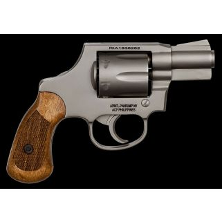 "Rock Island Armory M206 38 Special 2"" Barrel W/ Fixed Sights 6Rd Checkered Wood Grip/Nickel 51289"