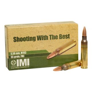 IMI M193 5.56mm 55gr Full Metal Jacket 20 Round Box 10-162-9990B9