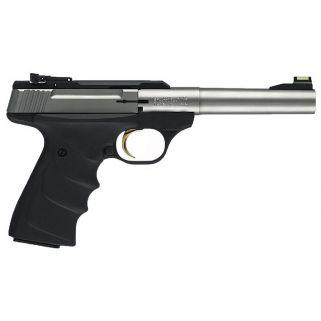 "Browning Buck Mark Camper 22LR 5.5"" Barrel W/ TruGlo Fiber Optic-Pro Target Sights 10+1 Textured Grips-Black/Stainless 051442490"