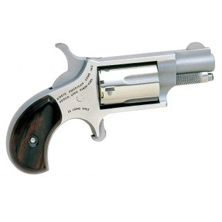 """NAA Mini Revolver 22LR 1.125"""" Barrel W/ Blade Front-Fixed Rear Sights 5Rd Rosewood Grip/Stainless 22LR"""