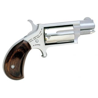 """NAA Mini Revolver 22 Magnum 1.125"""" Barrel W/ Half-Moon Sight 5Rd Rosewood Grip/Stainless 22MS"""