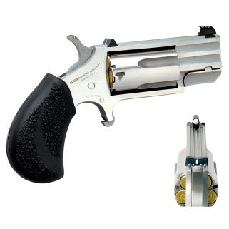 "NAA PUG 22 Magnum 1"" Barrel W/ XS White Dot Sights 5Rd Black Rubber Pebbled Grip/Stainless PUGD"