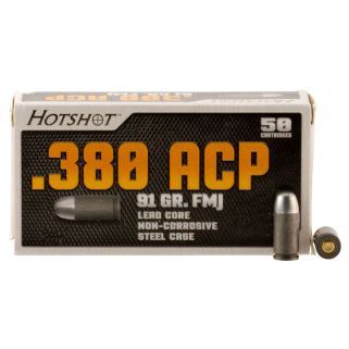 Century Hotshot 380ACP 91 Grain FMJ 50 Round Box AM2040