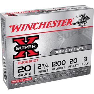 """Winchester Super-X 20 Gauge 3 Buck 2.75"""" 5 Round Box XB203"""