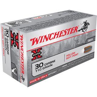 Winchester Super-X 30 Carbine 110 Grain Brass 50 Round Box X30M1