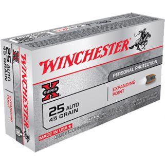 Winchester Super-X 25ACP 45 Grain Brass 50 Round Box X25AXP