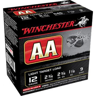 "Winchester AA Light Target Load 12 Gauge 9 Shot 2.75"" 25 Round Box AA129"