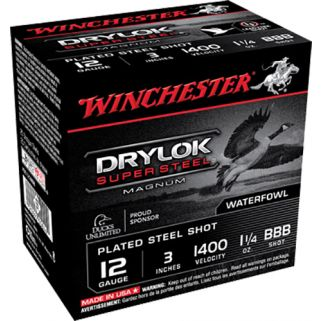 Winchester Super-X Drylok Super Steel Magnum 12 Gauge BBB Shot 25 Round Box XSC123BBB