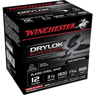 "Winchester DryLok Waterfowl 12 Gauge BBB Shot 3.5"" 25 Round Box XSC12LBBB"