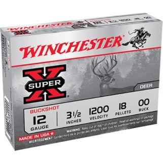 "Winchester Super-X 12 Gauge 00 Shot 3.5"" 5 Round Box XB12L00"