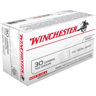 Winchester 30 Carbine 110 Grain FMJ 50 Round Box Q3132