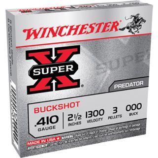 """Winchester Super-X Buckshot 410 Gauge 000 Buck 2.5"""" 5 Round Box XB41000"""