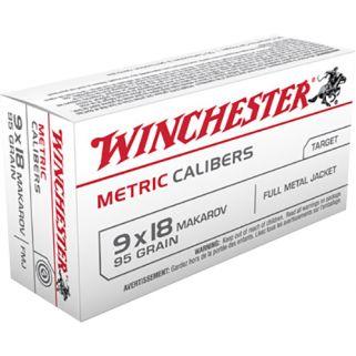 Winchester Metric Calibers 9x18mm Makarov 95 Grain FMJ 20 Round Box MC918M