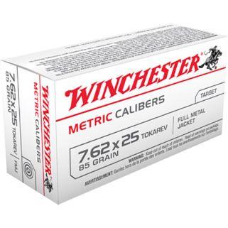 Winchester Metric Calibers 7.62x25mm Tokarev 85 Grain FMJ 50 Round Box MC762TOK