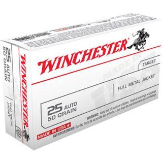 Winchester USA 25ACP 50 Grain FMJ 50 Round Box Q4203