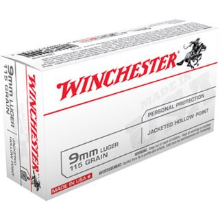 Winchester USA 9mm Luger 115 Grain JHP 50 Round Box USA9JHP