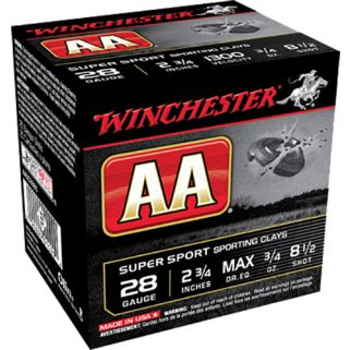 "Winchester AA Target Loads 28 Gauge 8.5 Shot 2.75"" 25 Round Box AASC2885"