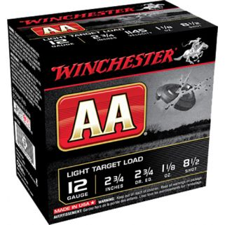 "Winchester AA Light Target Load 12 Gauge 8 Shot 2.75"" 25 Round Box AA128"