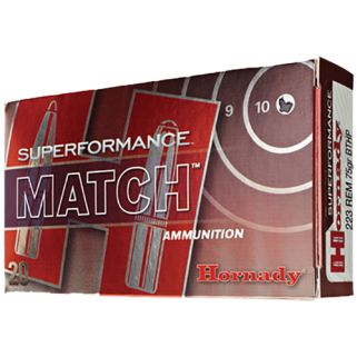 Hornady Superformance Match 223 Remington 75 Grain BTHP Match 20 Round Box 80264