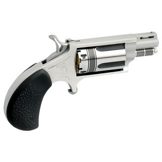 "NAA Mini Revolver WASP 22 Magnum 1.125"" Barrel W/ Half-Moon Sight 5Rd Rubber Pebbled Grip/Stainless 22MSTW"