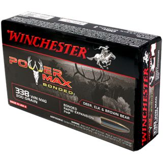 Winchester Power Max Bonded 338WIN Magnum 200 Grain 20 Round Box X3381BP