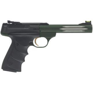 "Browning Buck Mark Practical 22LR 5.5"" Barrel W/ TruGlo Fiber Optic-Pro Target Sights 10+1 Black/Anodized Green 051459490"