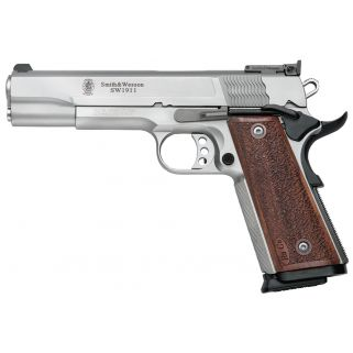 "Smith & Wesson 1911 Pro 9mm Luger 5"" Barrel W/ Fiber Optic Front Sight 10+1 Wood Grip/Stainless 178047"