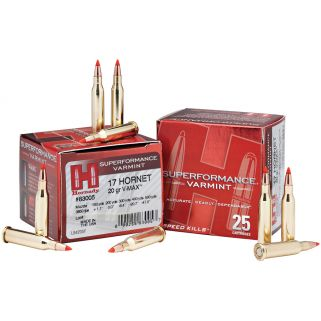 Hornady Superformance Varmint 17 Hornet 20 Grain V-Max 25 Round Box 83005