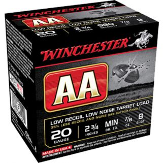 """Winchester AA Low Recoil Low Noise Target Load 20 Gauge 8 Shot 2.75"""" 25 Round Box AA20FL8"""