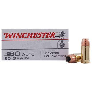 Winchester USA 380ACP 95 Grain JHP 50 Round Box USA380JHP
