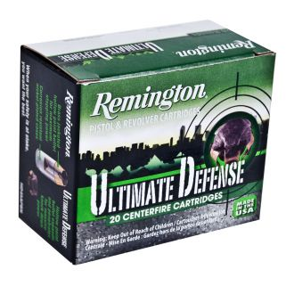 Remington Ultimate Defense 9mm Luger 124 Grain Brass 20 Round Box HD9MMBN