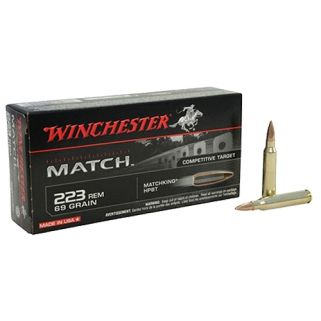 Winchester Match Boat Tail Hollow Point 223 Remington/5.56NATO 69 Grain 20 Round Box S223M2