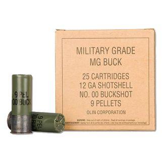 "Winchester Military Grade Buffered Buckshot 12 Gauge 00 Buck 2.75"" 25 Round Box Q1544VP"