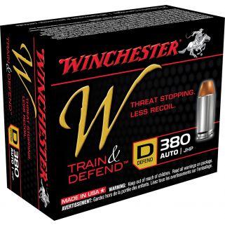 Winchester W-Train & Defend 380ACP 95 Grain JHP 20 Round Box W380D