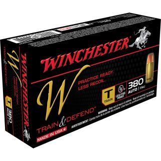 Winchester W-Train & Defend 380ACP 95 Grain Brass 50 Round Box W380T