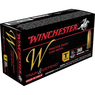 Winchester W-Train & Defend 38 Special 130 Grain Brass 50 Round Box W38SPLT
