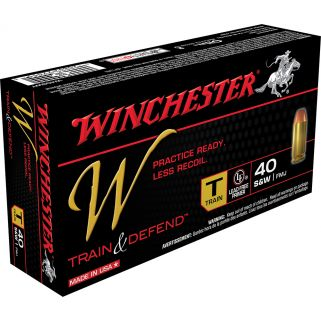 Winchester W-Train & Defend 40S&W 180 Grain Brass 50 Round Box W40SWT
